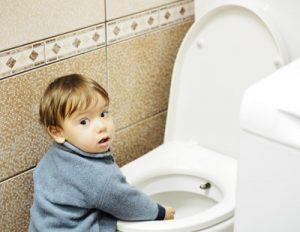 Baby on toilet