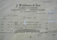 An old invoice from the first of four generations of Waldmans. The company was started by Jacob Waldman who used a bicycle with his tools thrown on the back for transportation between houses.