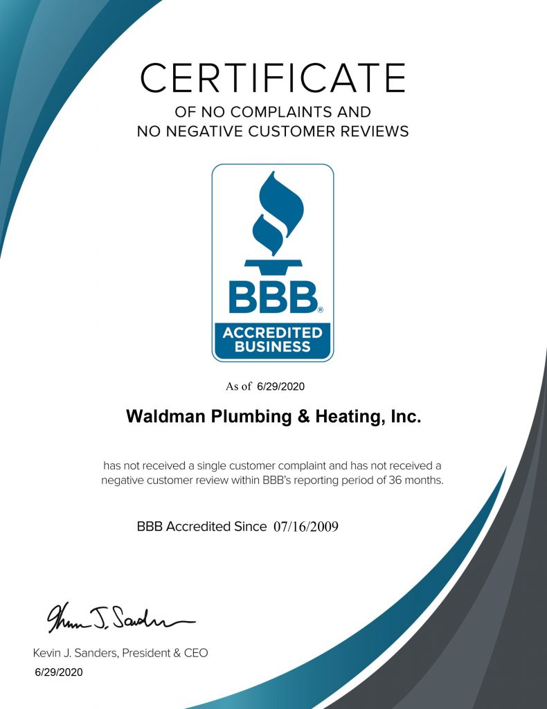 BBB Certificate of No Complaints and No Negative Customer reviews